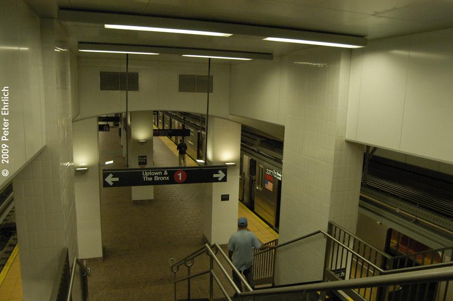 (173k, 930x618)<br><b>Country:</b> United States<br><b>City:</b> New York<br><b>System:</b> New York City Transit<br><b>Line:</b> IRT West Side Line<br><b>Location:</b> South Ferry (New Station) <br><b>Route:</b> 1<br><b>Car:</b> R-62A (Bombardier, 1984-1987)  2377 <br><b>Photo by:</b> Peter Ehrlich<br><b>Date:</b> 7/22/2009<br><b>Viewed (this week/total):</b> 0 / 2126