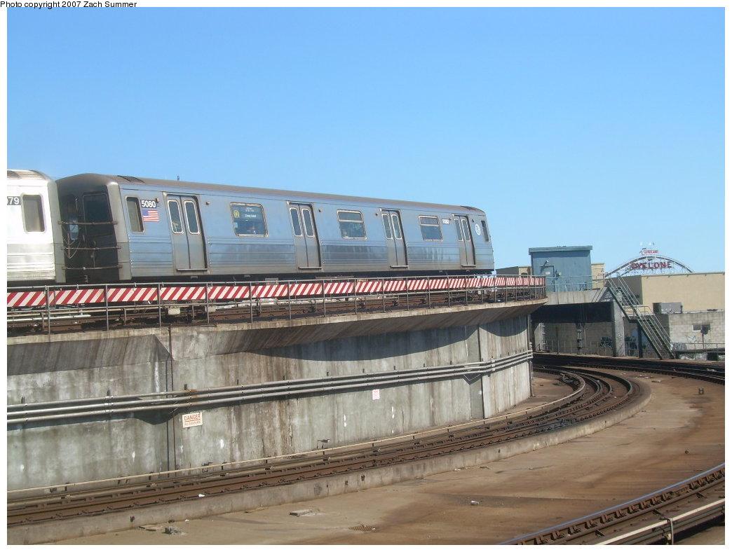 (185k, 1044x788)<br><b>Country:</b> United States<br><b>City:</b> New York<br><b>System:</b> New York City Transit<br><b>Location:</b> Coney Island/Stillwell Avenue<br><b>Route:</b> Q<br><b>Car:</b> R-68A (Kawasaki, 1988-1989)  5080 <br><b>Photo by:</b> Zach Summer<br><b>Date:</b> 9/13/2007<br><b>Viewed (this week/total):</b> 0 / 1630