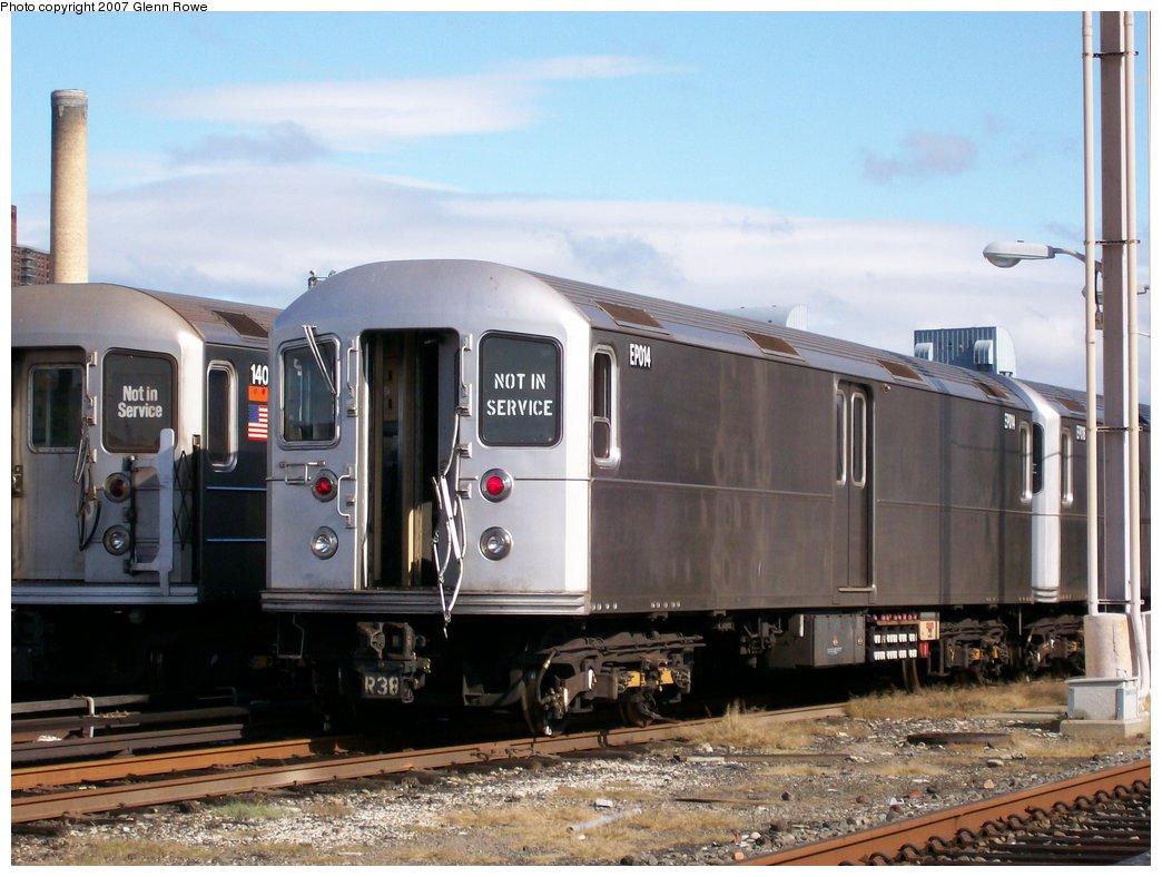(157k, 1044x788)<br><b>Country:</b> United States<br><b>City:</b> New York<br><b>System:</b> New York City Transit<br><b>Location:</b> 207th Street Yard<br><b>Car:</b> R-127/R-134 (Kawasaki, 1991-1996) EP014 <br><b>Photo by:</b> Glenn L. Rowe<br><b>Date:</b> 10/12/2007<br><b>Viewed (this week/total):</b> 0 / 2006