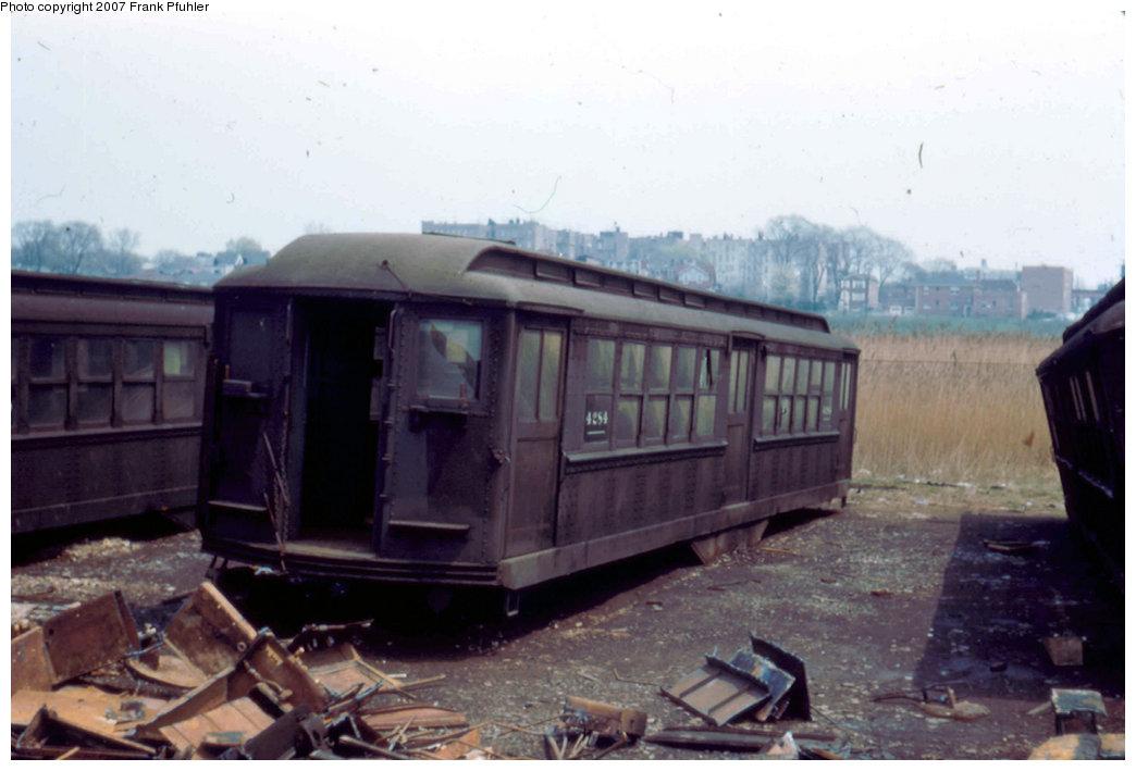(159k, 1044x709)<br><b>Country:</b> United States<br><b>City:</b> New York<br><b>System:</b> New York City Transit<br><b>Location:</b> Westchester Yard<br><b>Car:</b> Hi-V 4284 <br><b>Photo by:</b> Frank Pfuhler<br><b>Date:</b> 5/6/1956<br><b>Notes:</b> A Hi-V MUDC trailer #4284 of the 1915 built 4223-4514 series.<br><b>Viewed (this week/total):</b> 1 / 2357