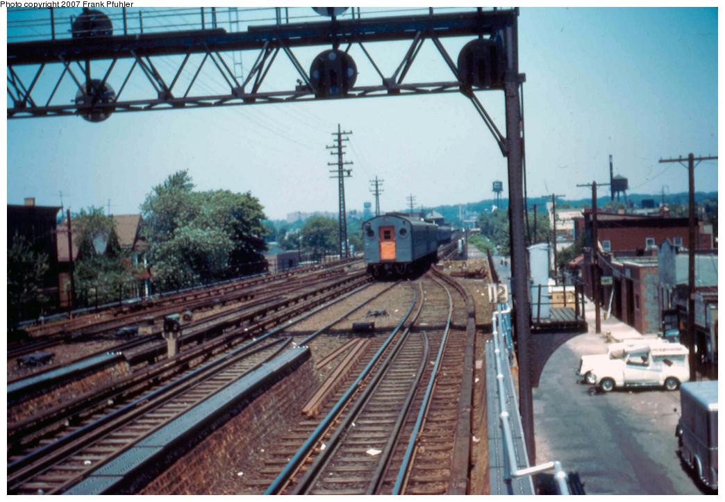 (297k, 1044x723)<br><b>Country:</b> United States<br><b>City:</b> New York<br><b>System:</b> Long Island Rail Road<br><b>Line:</b> LIRR Rockaway<br><b>Location:</b> Ozone Park <br><b>Photo by:</b> Frank Pfuhler<br><b>Date:</b> 6/18/1955<br><b>Viewed (this week/total):</b> 1 / 2411