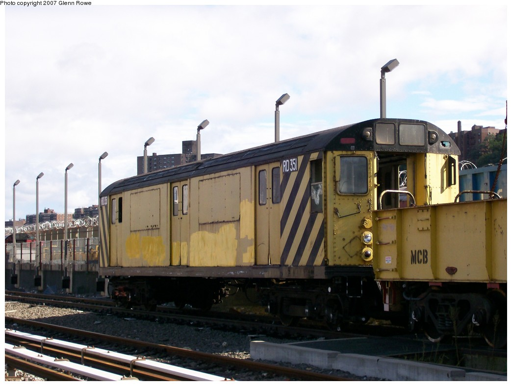 (163k, 1044x788)<br><b>Country:</b> United States<br><b>City:</b> New York<br><b>System:</b> New York City Transit<br><b>Location:</b> 207th Street Yard<br><b>Car:</b> R-71 Rider Car (R-17/R-21/R-22 Rebuilds)  RD351 (ex-7380)<br><b>Photo by:</b> Glenn L. Rowe<br><b>Date:</b> 10/12/2007<br><b>Viewed (this week/total):</b> 4 / 1268