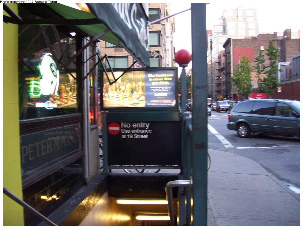 (202k, 1044x790)<br><b>Country:</b> United States<br><b>City:</b> New York<br><b>System:</b> New York City Transit<br><b>Line:</b> IRT West Side Line<br><b>Location:</b> 18th Street <br><b>Photo by:</b> Roberto C. Tobar<br><b>Date:</b> 10/13/2007<br><b>Notes:</b> Closed entrance.<br><b>Viewed (this week/total):</b> 0 / 2885