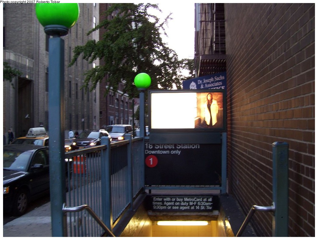 (201k, 1044x790)<br><b>Country:</b> United States<br><b>City:</b> New York<br><b>System:</b> New York City Transit<br><b>Line:</b> IRT West Side Line<br><b>Location:</b> 18th Street <br><b>Photo by:</b> Roberto C. Tobar<br><b>Date:</b> 10/13/2007<br><b>Notes:</b> Station entrance.<br><b>Viewed (this week/total):</b> 5 / 3166