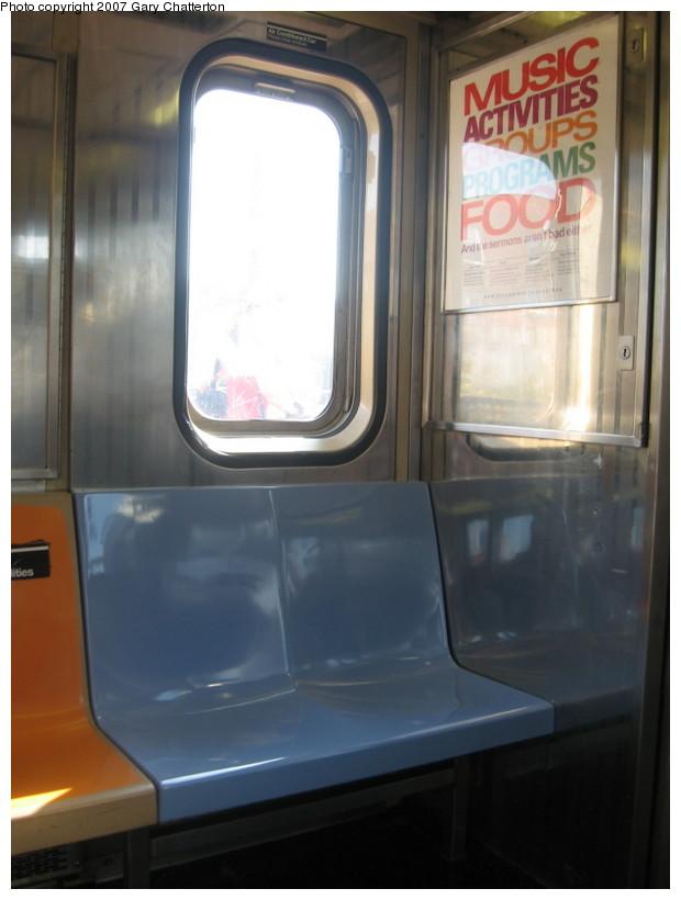 (94k, 620x820)<br><b>Country:</b> United States<br><b>City:</b> New York<br><b>System:</b> New York City Transit<br><b>Route:</b> 7<br><b>Car:</b> R-62A (Bombardier, 1984-1987)  2084 <br><b>Photo by:</b> Gary Chatterton<br><b>Date:</b> 10/6/2007<br><b>Notes:</b> Note blue replacement seats.<br><b>Viewed (this week/total):</b> 1 / 1879