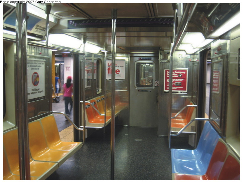 (127k, 820x620)<br><b>Country:</b> United States<br><b>City:</b> New York<br><b>System:</b> New York City Transit<br><b>Route:</b> 7<br><b>Car:</b> R-62A (Bombardier, 1984-1987)  2084 <br><b>Photo by:</b> Gary Chatterton<br><b>Date:</b> 10/6/2007<br><b>Notes:</b> Note blue replacement seats.<br><b>Viewed (this week/total):</b> 2 / 1898