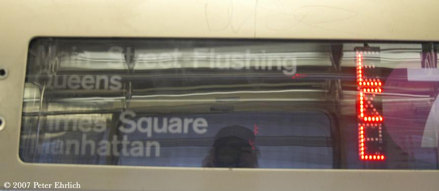 (91k, 864x377)<br><b>Country:</b> United States<br><b>City:</b> New York<br><b>System:</b> New York City Transit<br><b>Route:</b> 7<br><b>Car:</b> R-62A (Bombardier, 1984-1987)  1740 <br><b>Photo by:</b> Peter Ehrlich<br><b>Date:</b> 10/1/2007<br><b>Notes:</b> Experimental express-local LED sign.<br><b>Viewed (this week/total):</b> 2 / 2373