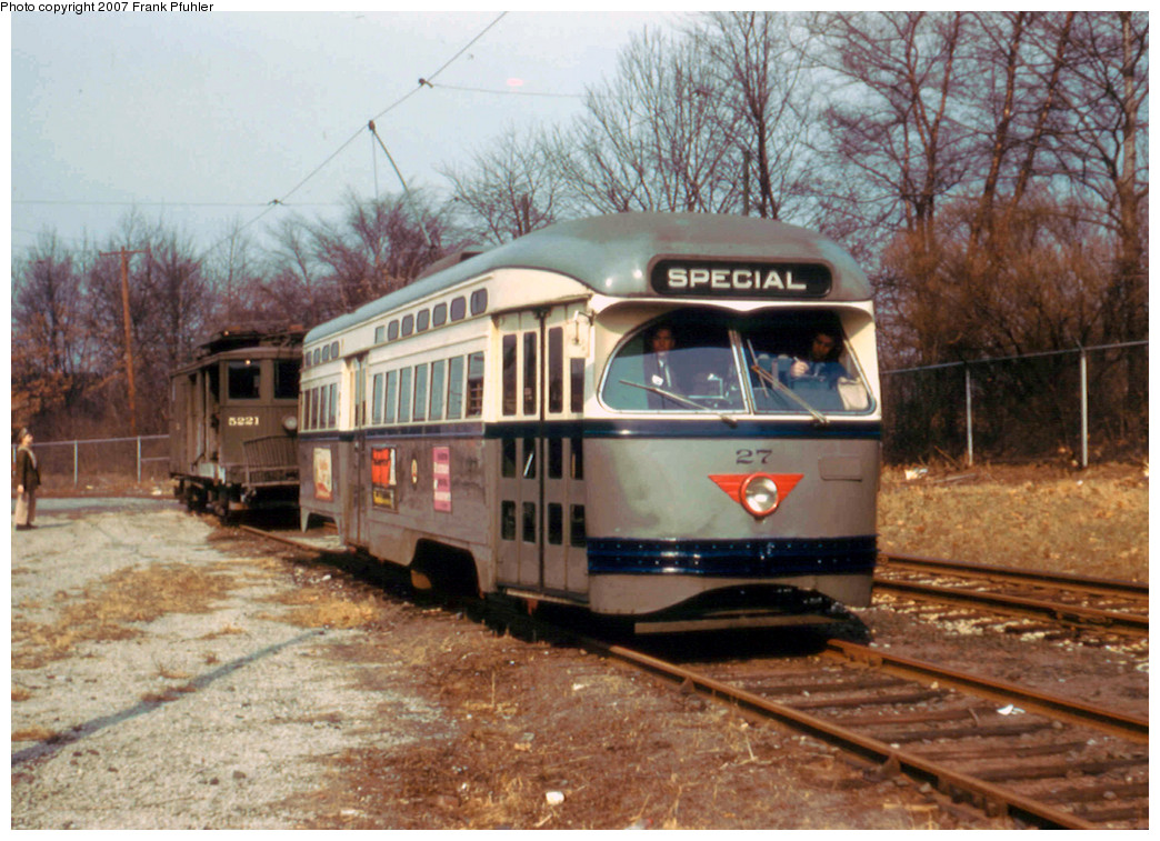 (293k, 1044x757)<br><b>Country:</b> United States<br><b>City:</b> Newark, NJ<br><b>System:</b> Newark City Subway<br><b>Location:</b> Franklin Avenue <br><b>Car:</b> NJTransit/PSCT PCC (Ex-Twin City) (St. Louis Car Co., 1946-1947) 27 <br><b>Photo by:</b> Frank Pfuhler<br><b>Date:</b> 2/22/1957<br><b>Viewed (this week/total):</b> 0 / 1152