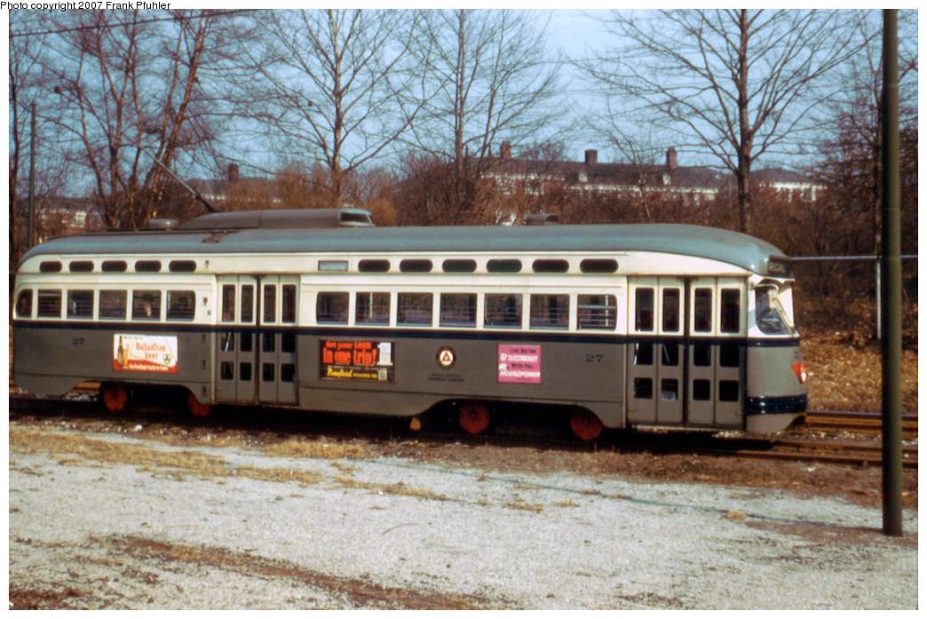 (329k, 1044x697)<br><b>Country:</b> United States<br><b>City:</b> Newark, NJ<br><b>System:</b> Newark City Subway<br><b>Location:</b> Franklin Avenue <br><b>Car:</b> NJTransit/PSCT PCC (Ex-Twin City) (St. Louis Car Co., 1946-1947) 27 <br><b>Photo by:</b> Frank Pfuhler<br><b>Date:</b> 2/27/1957<br><b>Viewed (this week/total):</b> 1 / 1261