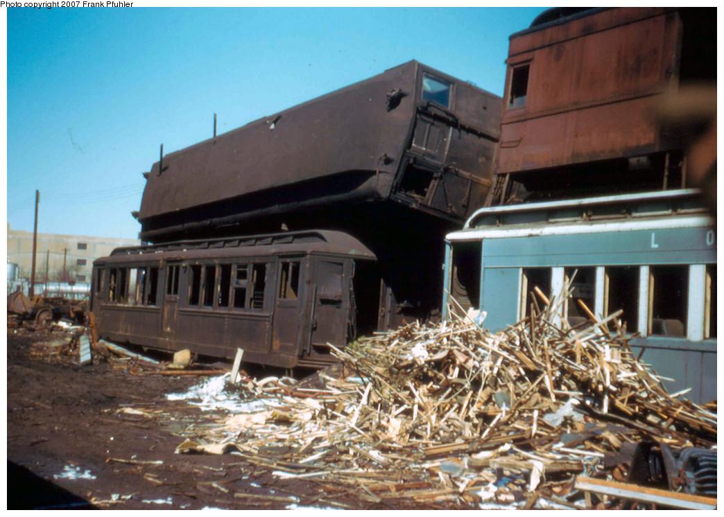 (262k, 1044x746)<br><b>Country:</b> United States<br><b>City:</b> New York<br><b>System:</b> Long Island Rail Road<br><b>Location:</b> LIRR Holban-Hillside Maint. Complex/Yard<br><b>Car:</b> Hi-V  <br><b>Photo by:</b> Frank Pfuhler<br><b>Date:</b> 10/5/1958<br><b>Viewed (this week/total):</b> 3 / 3275