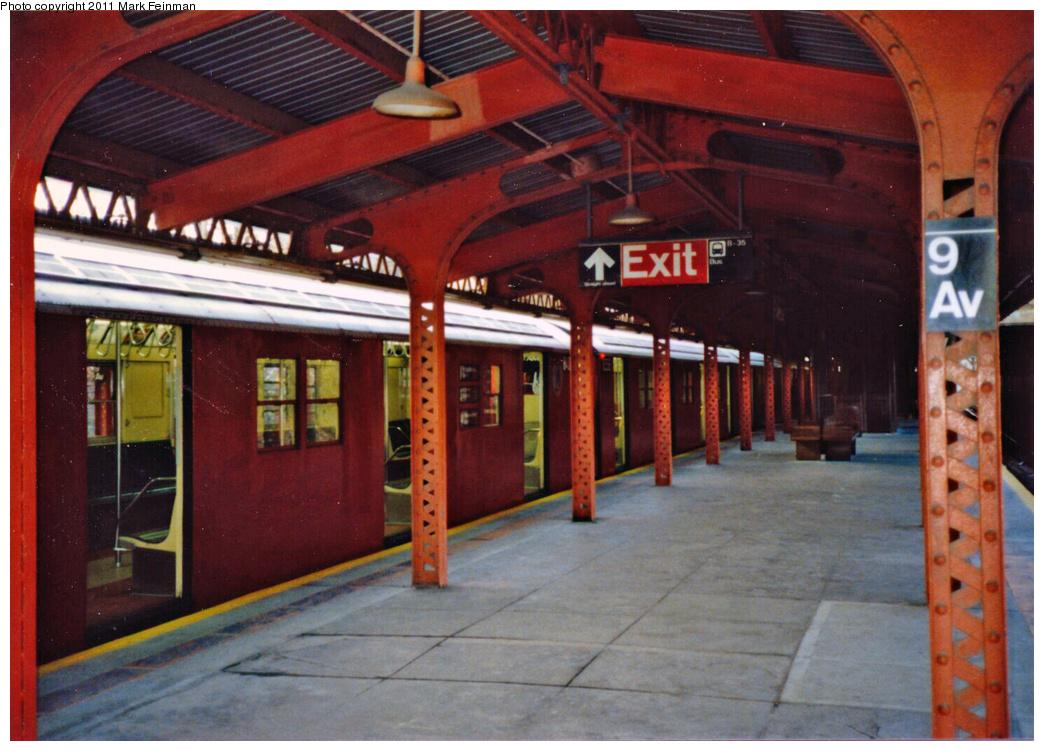 (372k, 1044x751)<br><b>Country:</b> United States<br><b>City:</b> New York<br><b>System:</b> New York City Transit<br><b>Line:</b> BMT West End Line<br><b>Location:</b> 9th Avenue<br><b>Route:</b> M<br><b>Car:</b> R-30 (St. Louis, 1961)  <br><b>Photo by:</b> Mark S. Feinman<br><b>Date:</b> 11/22/1989<br><b>Viewed (this week/total):</b> 1 / 3196