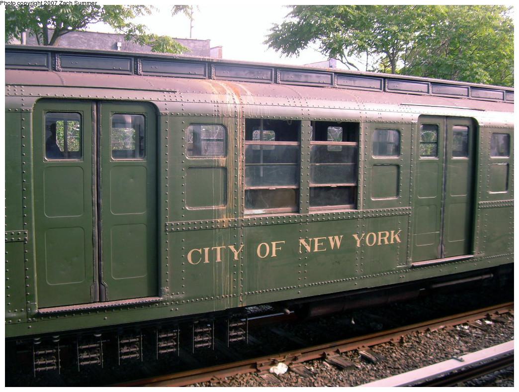 (317k, 1044x788)<br><b>Country:</b> United States<br><b>City:</b> New York<br><b>System:</b> New York City Transit<br><b>Line:</b> IND Rockaway<br><b>Location:</b> Rockaway Park/Beach 116th Street <br><b>Route:</b> Fan Trip<br><b>Car:</b> R-1 (American Car & Foundry, 1930-1931) 100 <br><b>Photo by:</b> Zach Summer<br><b>Date:</b> 7/22/2007<br><b>Viewed (this week/total):</b> 4 / 1692