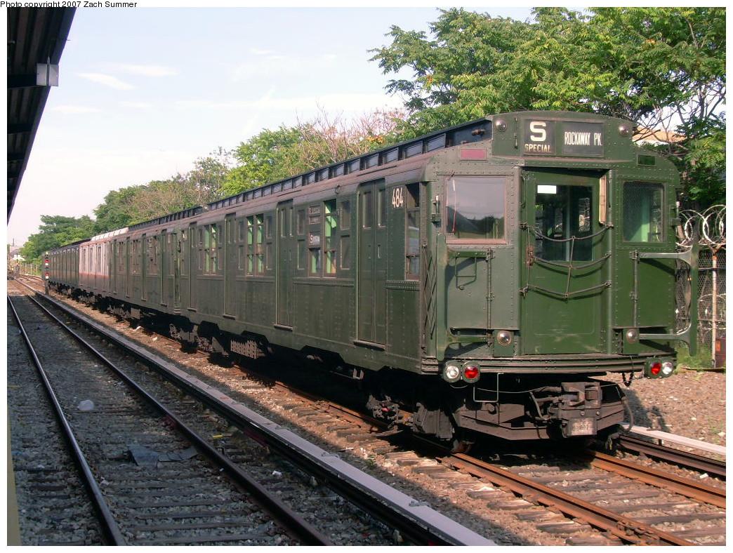 (356k, 1044x788)<br><b>Country:</b> United States<br><b>City:</b> New York<br><b>System:</b> New York City Transit<br><b>Line:</b> IND Rockaway<br><b>Location:</b> Rockaway Park/Beach 116th Street <br><b>Route:</b> Fan Trip<br><b>Car:</b> R-4 (American Car & Foundry, 1932-1933) 484 <br><b>Photo by:</b> Zach Summer<br><b>Date:</b> 7/22/2007<br><b>Viewed (this week/total):</b> 0 / 1574