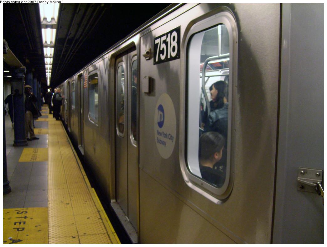 (265k, 1044x788)<br><b>Country:</b> United States<br><b>City:</b> New York<br><b>System:</b> New York City Transit<br><b>Line:</b> IRT East Side Line<br><b>Location:</b> 59th Street <br><b>Route:</b> 6<br><b>Car:</b> R-142A (Primary Order, Kawasaki, 1999-2002)  7518 <br><b>Photo by:</b> Danny Molina<br><b>Date:</b> 10/16/2007<br><b>Viewed (this week/total):</b> 0 / 3153