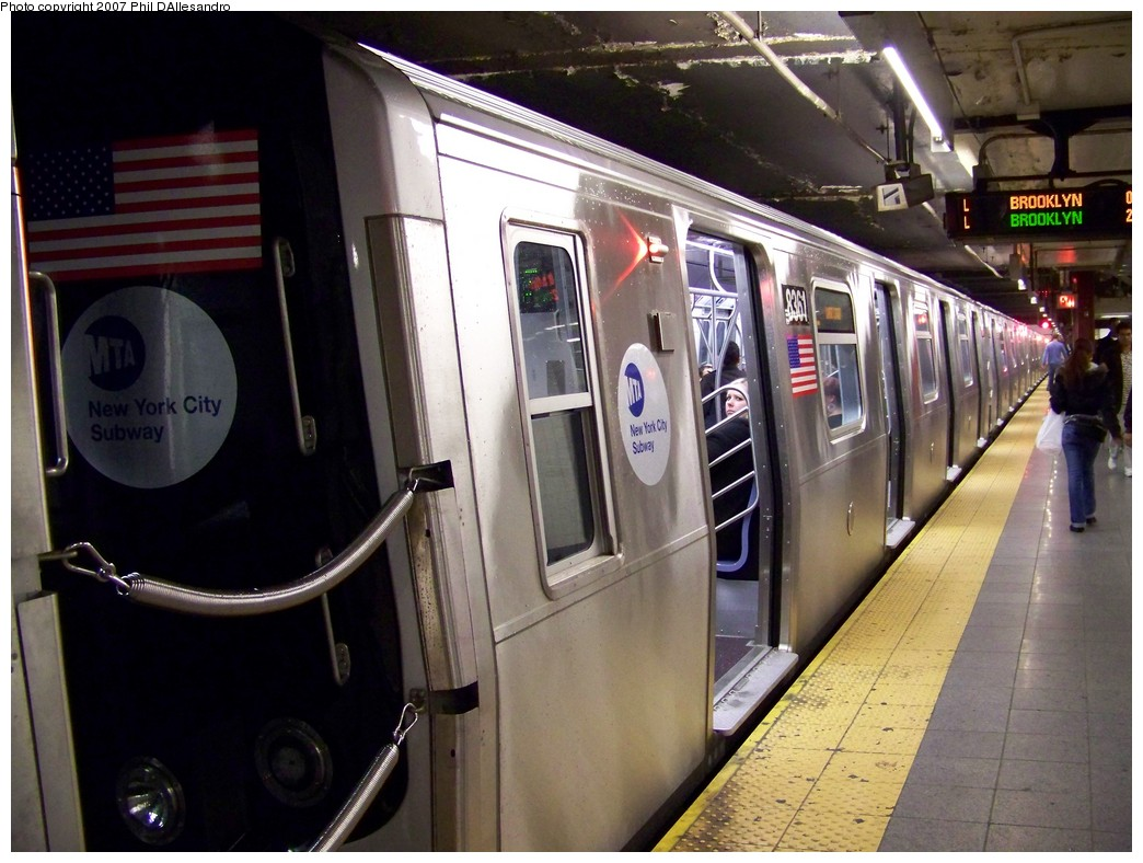 (215k, 1044x788)<br><b>Country:</b> United States<br><b>City:</b> New York<br><b>System:</b> New York City Transit<br><b>Line:</b> BMT Canarsie Line<br><b>Location:</b> 8th Avenue <br><b>Route:</b> L<br><b>Car:</b> R-160A-1 (Alstom, 2005-2008, 4 car sets)  8361 <br><b>Photo by:</b> Philip D'Allesandro<br><b>Date:</b> 10/26/2007<br><b>Viewed (this week/total):</b> 4 / 3057