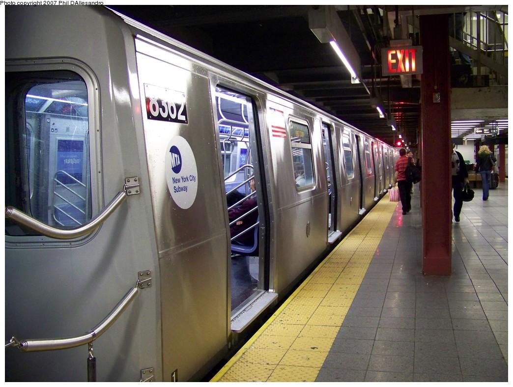 (228k, 1044x788)<br><b>Country:</b> United States<br><b>City:</b> New York<br><b>System:</b> New York City Transit<br><b>Line:</b> BMT Canarsie Line<br><b>Location:</b> 8th Avenue <br><b>Route:</b> L<br><b>Car:</b> R-160A-1 (Alstom, 2005-2008, 4 car sets)  8362 <br><b>Photo by:</b> Philip D'Allesandro<br><b>Date:</b> 10/26/2007<br><b>Viewed (this week/total):</b> 0 / 2863