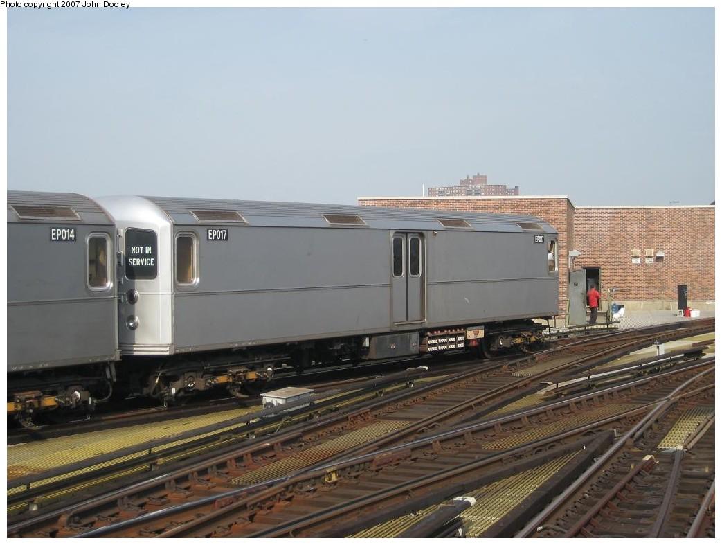 (173k, 1043x787)<br><b>Country:</b> United States<br><b>City:</b> New York<br><b>System:</b> New York City Transit<br><b>Location:</b> Coney Island/Stillwell Avenue<br><b>Route:</b> Work Service<br><b>Car:</b> R-127/R-134 (Kawasaki, 1991-1996) EP017 <br><b>Photo by:</b> John Dooley<br><b>Date:</b> 10/18/2007<br><b>Viewed (this week/total):</b> 0 / 2430