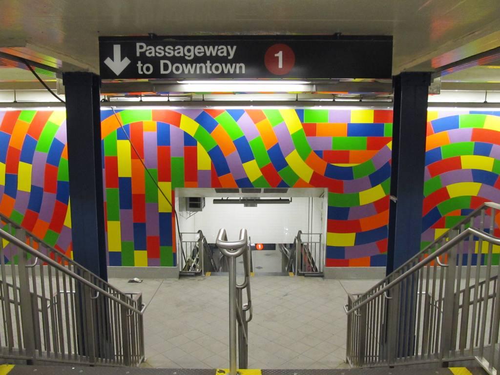 (114k, 1024x768)<br><b>Country:</b> United States<br><b>City:</b> New York<br><b>System:</b> New York City Transit<br><b>Line:</b> IND 8th Avenue Line<br><b>Location:</b> 59th Street/Columbus Circle <br><b>Photo by:</b> Robbie Rosenfeld<br><b>Date:</b> 11/16/2010<br><b>Artwork:</b> <i>Whirls and Twirls</i>, Sol Lewitt (2007).<br><b>Notes:</b> New passageway to downtown #1 via center platform of IND station.<br><b>Viewed (this week/total):</b> 1 / 1624