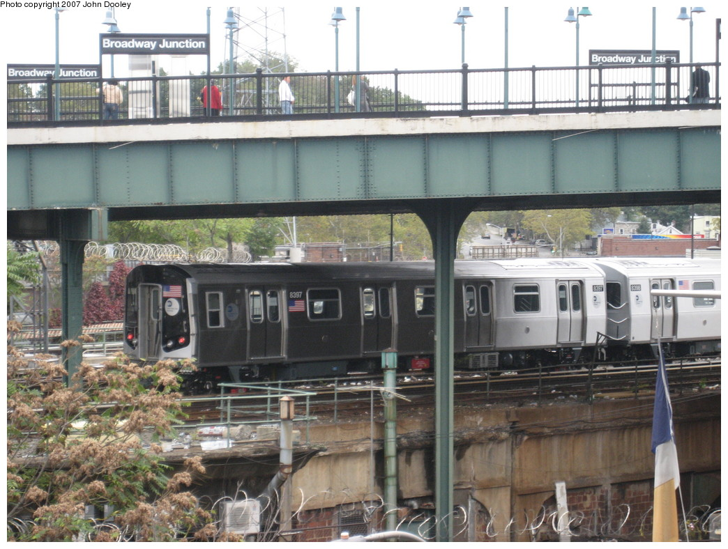 (249k, 1044x788)<br><b>Country:</b> United States<br><b>City:</b> New York<br><b>System:</b> New York City Transit<br><b>Location:</b> East New York Yard/Shops<br><b>Car:</b> R-160A-1 (Alstom, 2005-2008, 4 car sets)  8397 <br><b>Photo by:</b> John Dooley<br><b>Date:</b> 10/26/2007<br><b>Viewed (this week/total):</b> 0 / 2609