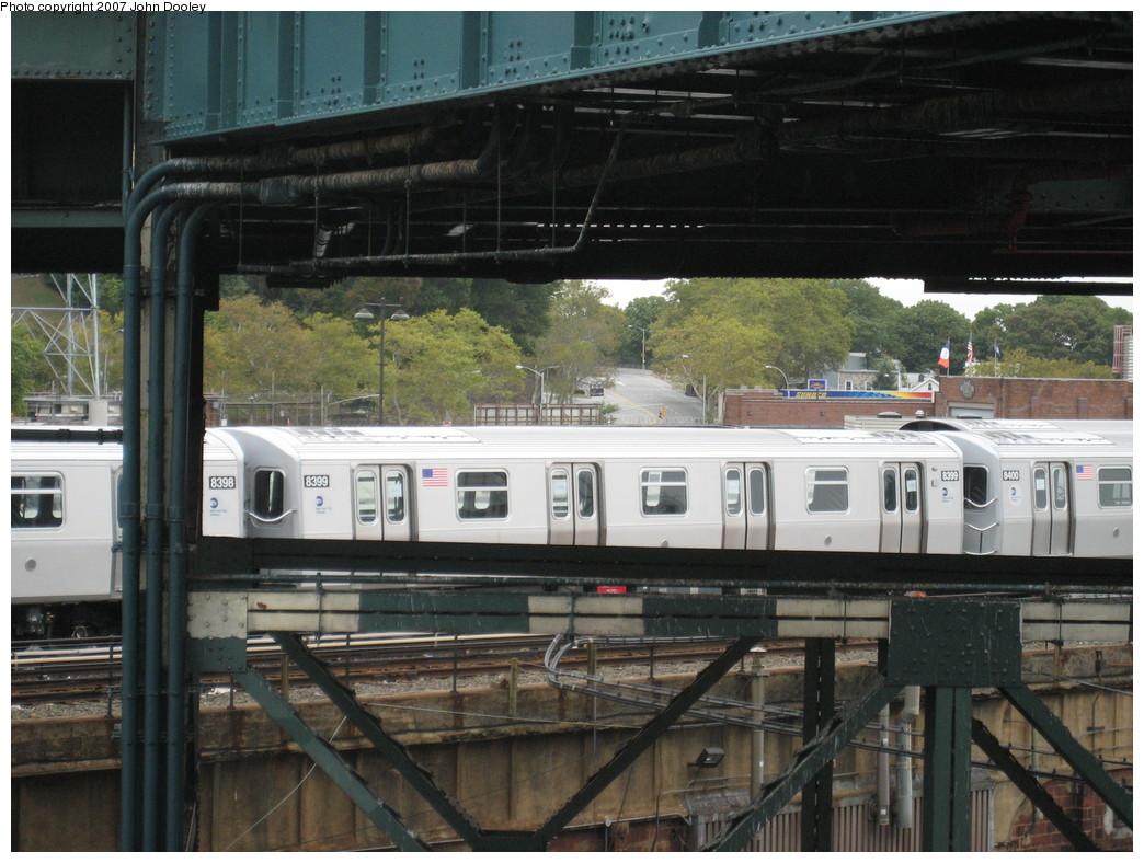(230k, 1044x788)<br><b>Country:</b> United States<br><b>City:</b> New York<br><b>System:</b> New York City Transit<br><b>Location:</b> East New York Yard/Shops<br><b>Car:</b> R-160A-1 (Alstom, 2005-2008, 4 car sets)  8399 <br><b>Photo by:</b> John Dooley<br><b>Date:</b> 10/26/2007<br><b>Viewed (this week/total):</b> 0 / 1714