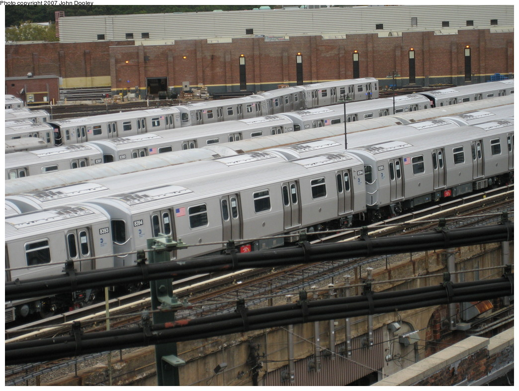 (257k, 1044x788)<br><b>Country:</b> United States<br><b>City:</b> New York<br><b>System:</b> New York City Transit<br><b>Location:</b> East New York Yard/Shops<br><b>Car:</b> R-160A-1 (Alstom, 2005-2008, 4 car sets)  8394 <br><b>Photo by:</b> John Dooley<br><b>Date:</b> 10/26/2007<br><b>Viewed (this week/total):</b> 0 / 1357