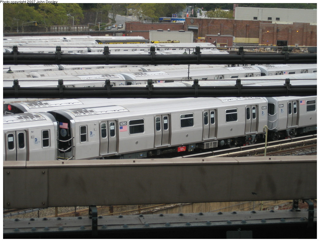 (216k, 1044x788)<br><b>Country:</b> United States<br><b>City:</b> New York<br><b>System:</b> New York City Transit<br><b>Location:</b> East New York Yard/Shops<br><b>Car:</b> R-160A-1 (Alstom, 2005-2008, 4 car sets)  8393 <br><b>Photo by:</b> John Dooley<br><b>Date:</b> 10/26/2007<br><b>Viewed (this week/total):</b> 0 / 2095