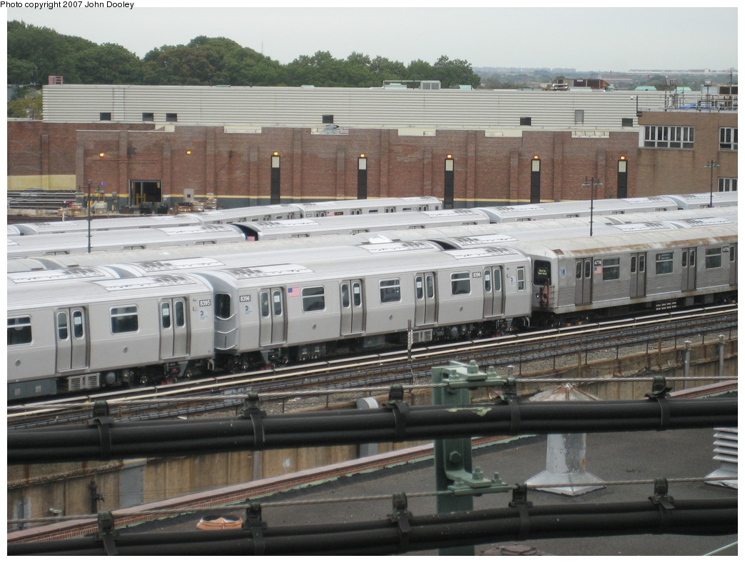 (228k, 1044x788)<br><b>Country:</b> United States<br><b>City:</b> New York<br><b>System:</b> New York City Transit<br><b>Location:</b> East New York Yard/Shops<br><b>Car:</b> R-160A-1 (Alstom, 2005-2008, 4 car sets)  8396 <br><b>Photo by:</b> John Dooley<br><b>Date:</b> 10/26/2007<br><b>Viewed (this week/total):</b> 3 / 1354