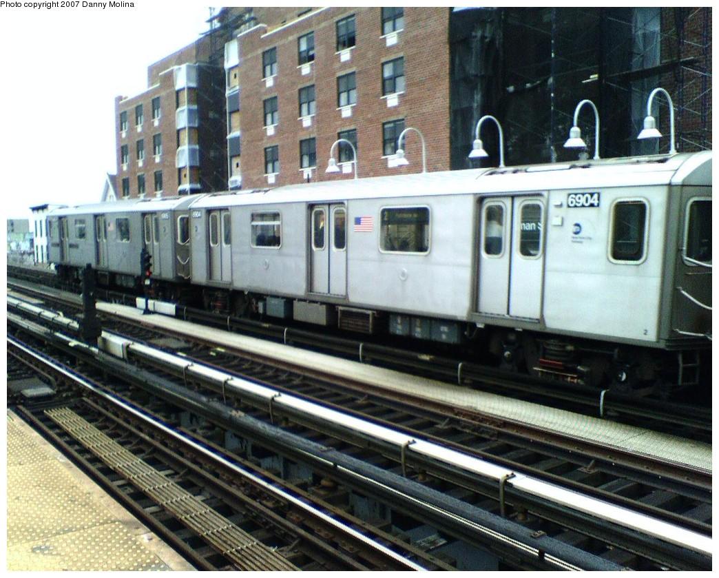 (260k, 1044x839)<br><b>Country:</b> United States<br><b>City:</b> New York<br><b>System:</b> New York City Transit<br><b>Line:</b> IRT White Plains Road Line<br><b>Location:</b> Freeman Street <br><b>Route:</b> 2<br><b>Car:</b> R-142 (Primary Order, Bombardier, 1999-2002)  6904 <br><b>Photo by:</b> Danny Molina<br><b>Date:</b> 10/26/2007<br><b>Viewed (this week/total):</b> 1 / 3095