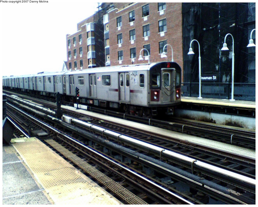 (351k, 1044x839)<br><b>Country:</b> United States<br><b>City:</b> New York<br><b>System:</b> New York City Transit<br><b>Line:</b> IRT White Plains Road Line<br><b>Location:</b> Freeman Street <br><b>Route:</b> 2<br><b>Car:</b> R-142 (Option Order, Bombardier, 2002-2003)  7031 <br><b>Photo by:</b> Danny Molina<br><b>Date:</b> 10/26/2007<br><b>Viewed (this week/total):</b> 0 / 3048