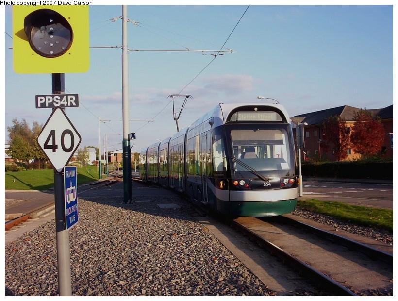 (181k, 820x620)<br><b>Country:</b> United Kingdom<br><b>City:</b> Nottingham<br><b>System:</b> Nottingham Express Transit<br><b>Location:</b> Phoenix Park <br><b>Car:</b> Bombardier Incentro 204 <br><b>Photo by:</b> Dave Carson<br><b>Date:</b> 10/20/2007<br><b>Viewed (this week/total):</b> 0 / 899