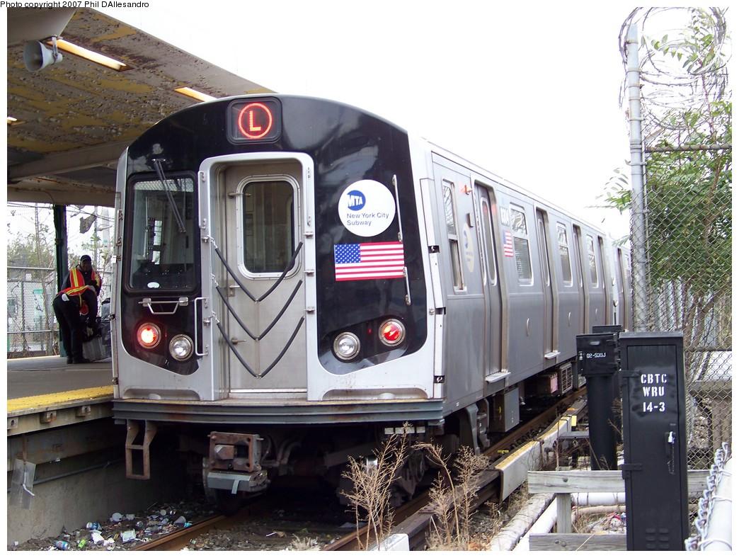 (260k, 1044x788)<br><b>Country:</b> United States<br><b>City:</b> New York<br><b>System:</b> New York City Transit<br><b>Line:</b> BMT Canarsie Line<br><b>Location:</b> Rockaway Parkway <br><b>Route:</b> L<br><b>Car:</b> R-143 (Kawasaki, 2001-2002) 8304 <br><b>Photo by:</b> Philip D'Allesandro<br><b>Date:</b> 11/2/2007<br><b>Viewed (this week/total):</b> 0 / 3057