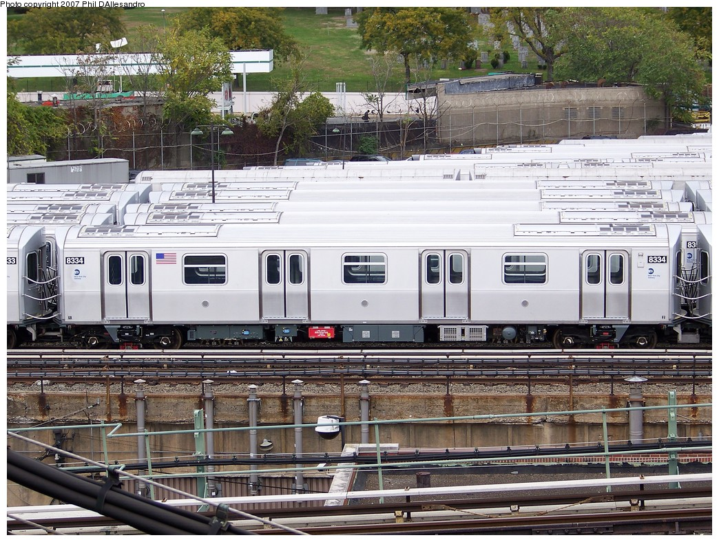 (328k, 1044x788)<br><b>Country:</b> United States<br><b>City:</b> New York<br><b>System:</b> New York City Transit<br><b>Location:</b> East New York Yard/Shops<br><b>Car:</b> R-160A-1 (Alstom, 2005-2008, 4 car sets)  8334 <br><b>Photo by:</b> Philip D'Allesandro<br><b>Date:</b> 11/2/2007<br><b>Viewed (this week/total):</b> 0 / 1733