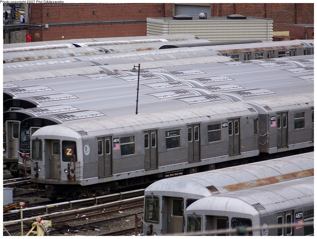 (285k, 1044x788)<br><b>Country:</b> United States<br><b>City:</b> New York<br><b>System:</b> New York City Transit<br><b>Location:</b> East New York Yard/Shops<br><b>Route:</b> J<br><b>Car:</b> R-42 (St. Louis, 1969-1970)  4874 <br><b>Photo by:</b> Philip D'Allesandro<br><b>Date:</b> 11/2/2007<br><b>Viewed (this week/total):</b> 5 / 1501