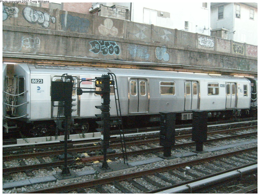 (327k, 1044x788)<br><b>Country:</b> United States<br><b>City:</b> New York<br><b>System:</b> New York City Transit<br><b>Line:</b> BMT Sea Beach Line<br><b>Location:</b> Kings Highway <br><b>Route:</b> N<br><b>Car:</b> R-160B (Kawasaki, 2005-2008)  8823 <br><b>Photo by:</b> Craig Williams<br><b>Date:</b> 11/4/2007<br><b>Viewed (this week/total):</b> 0 / 2627