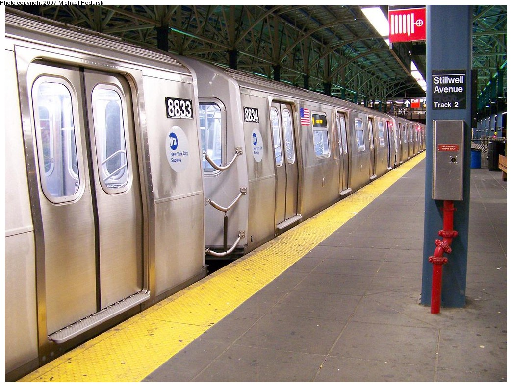 (251k, 1044x790)<br><b>Country:</b> United States<br><b>City:</b> New York<br><b>System:</b> New York City Transit<br><b>Location:</b> Coney Island/Stillwell Avenue<br><b>Route:</b> N<br><b>Car:</b> R-160B (Kawasaki, 2005-2008)  8834 <br><b>Photo by:</b> Michael Hodurski<br><b>Date:</b> 11/2/2007<br><b>Viewed (this week/total):</b> 0 / 1853