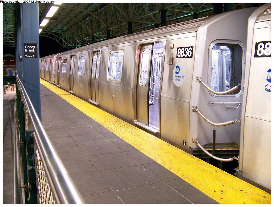 (246k, 1044x790)<br><b>Country:</b> United States<br><b>City:</b> New York<br><b>System:</b> New York City Transit<br><b>Location:</b> Coney Island/Stillwell Avenue<br><b>Route:</b> N<br><b>Car:</b> R-160B (Kawasaki, 2005-2008)  8836 <br><b>Photo by:</b> Michael Hodurski<br><b>Date:</b> 11/2/2007<br><b>Viewed (this week/total):</b> 2 / 1893