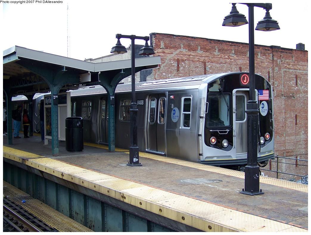 (255k, 1044x788)<br><b>Country:</b> United States<br><b>City:</b> New York<br><b>System:</b> New York City Transit<br><b>Line:</b> BMT Nassau Street/Jamaica Line<br><b>Location:</b> Myrtle Avenue <br><b>Route:</b> Testing<br><b>Car:</b> R-160A-1 (Alstom, 2005-2008, 4 car sets)  8408 <br><b>Photo by:</b> Philip D'Allesandro<br><b>Date:</b> 11/6/2007<br><b>Viewed (this week/total):</b> 0 / 2979