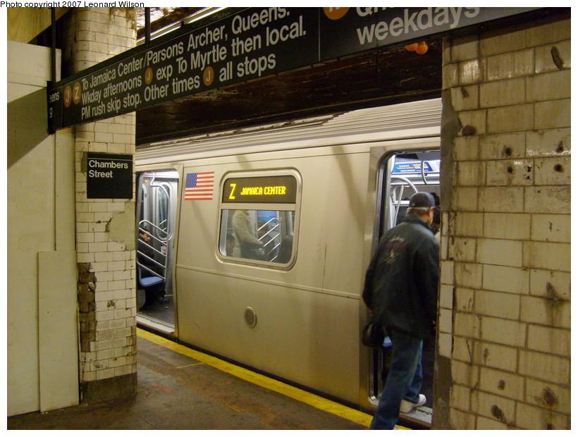(188k, 820x620)<br><b>Country:</b> United States<br><b>City:</b> New York<br><b>System:</b> New York City Transit<br><b>Line:</b> BMT Nassau Street/Jamaica Line<br><b>Location:</b> Chambers Street <br><b>Route:</b> Z<br><b>Car:</b> R-160A-1 (Alstom, 2005-2008, 4 car sets)   <br><b>Photo by:</b> Leonard Wilson<br><b>Date:</b> 8/3/2007<br><b>Viewed (this week/total):</b> 8 / 5181