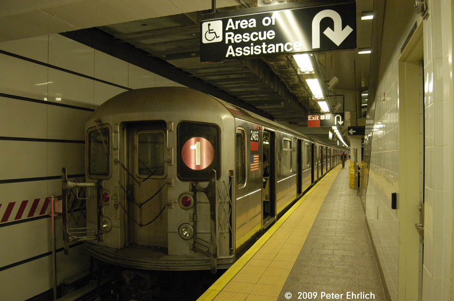 (202k, 930x618)<br><b>Country:</b> United States<br><b>City:</b> New York<br><b>System:</b> New York City Transit<br><b>Line:</b> IRT West Side Line<br><b>Location:</b> South Ferry (New Station) <br><b>Route:</b> 1<br><b>Car:</b> R-62A (Bombardier, 1984-1987)  2465 <br><b>Photo by:</b> Peter Ehrlich<br><b>Date:</b> 7/22/2009<br><b>Viewed (this week/total):</b> 1 / 1254
