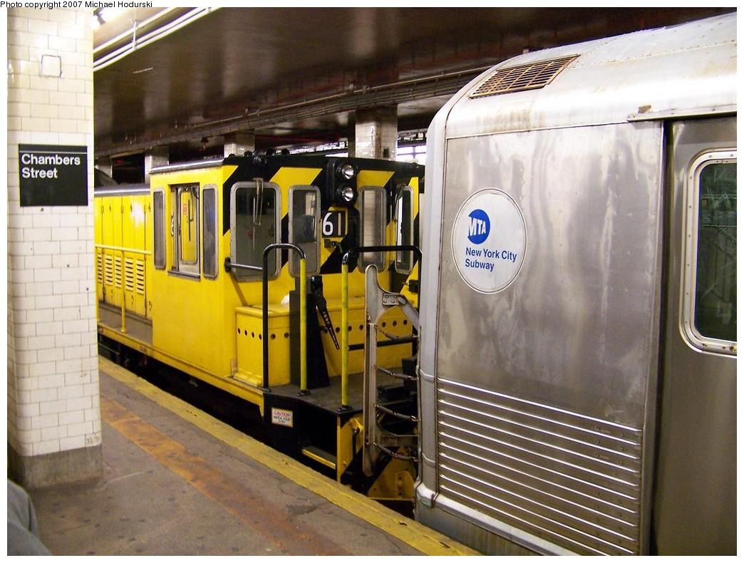 (232k, 1044x790)<br><b>Country:</b> United States<br><b>City:</b> New York<br><b>System:</b> New York City Transit<br><b>Line:</b> BMT Nassau Street/Jamaica Line<br><b>Location:</b> Chambers Street <br><b>Route:</b> Work Service<br><b>Car:</b> R-43 Locomotive  61 <br><b>Photo by:</b> Michael Hodurski<br><b>Date:</b> 11/6/2007<br><b>Notes:</b> Work train hauling out consist involved in 11/6/2007 bumper block bump at Chambers St.<br><b>Viewed (this week/total):</b> 0 / 2903