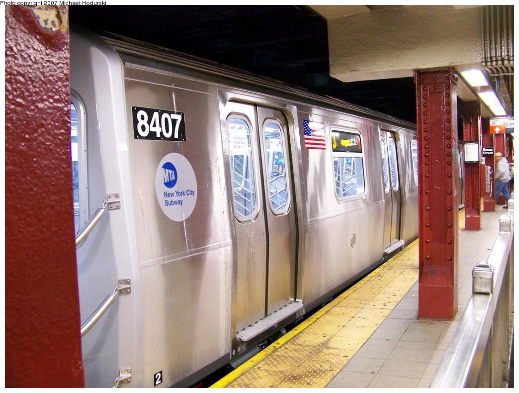 (234k, 1044x790)<br><b>Country:</b> United States<br><b>City:</b> New York<br><b>System:</b> New York City Transit<br><b>Line:</b> BMT Nassau Street/Jamaica Line<br><b>Location:</b> Essex Street <br><b>Route:</b> Testing<br><b>Car:</b> R-160A-1 (Alstom, 2005-2008, 4 car sets)  8407 <br><b>Photo by:</b> Michael Hodurski<br><b>Date:</b> 11/6/2007<br><b>Viewed (this week/total):</b> 3 / 2989