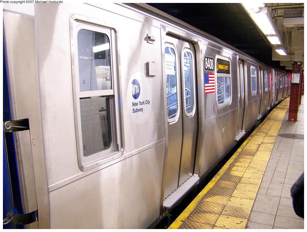 (223k, 1044x790)<br><b>Country:</b> United States<br><b>City:</b> New York<br><b>System:</b> New York City Transit<br><b>Line:</b> BMT Nassau Street/Jamaica Line<br><b>Location:</b> Essex Street <br><b>Route:</b> Testing<br><b>Car:</b> R-160A-1 (Alstom, 2005-2008, 4 car sets)  8408 <br><b>Photo by:</b> Michael Hodurski<br><b>Date:</b> 11/6/2007<br><b>Viewed (this week/total):</b> 4 / 2711