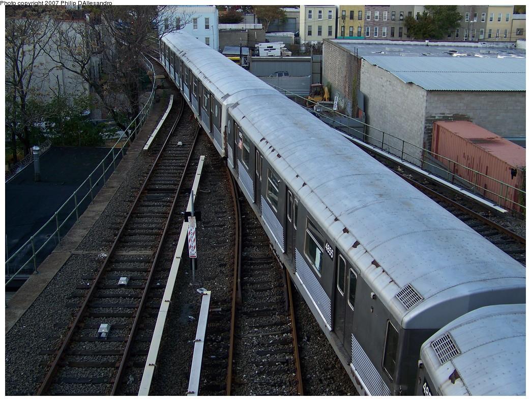 (307k, 1044x788)<br><b>Country:</b> United States<br><b>City:</b> New York<br><b>System:</b> New York City Transit<br><b>Location:</b> East New York Yard/Shops<br><b>Car:</b> R-42 (St. Louis, 1969-1970)  4855 <br><b>Photo by:</b> Philip D'Allesandro<br><b>Date:</b> 11/6/2007<br><b>Viewed (this week/total):</b> 0 / 1585