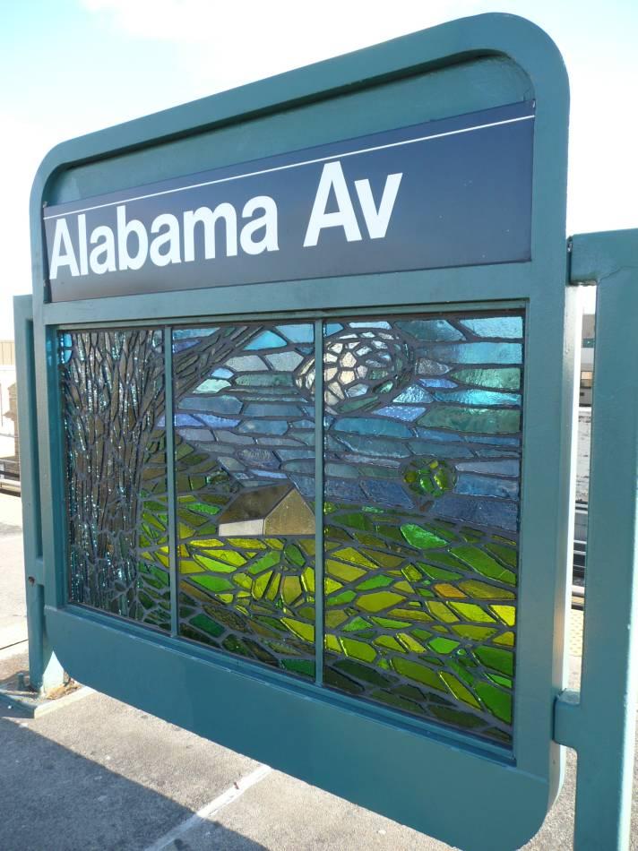 (103k, 712x950)<br><b>Country:</b> United States<br><b>City:</b> New York<br><b>System:</b> New York City Transit<br><b>Line:</b> BMT Nassau Street/Jamaica Line<br><b>Location:</b> Alabama Avenue <br><b>Photo by:</b> Robbie Rosenfeld<br><b>Date:</b> 11/7/2007<br><b>Artwork:</b> <i>Untitled</i>, Scott Redden (2007).<br><b>Viewed (this week/total):</b> 4 / 1686