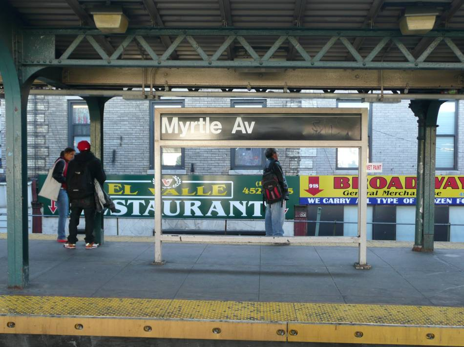 (123k, 950x712)<br><b>Country:</b> United States<br><b>City:</b> New York<br><b>System:</b> New York City Transit<br><b>Line:</b> BMT Nassau Street/Jamaica Line<br><b>Location:</b> Myrtle Avenue <br><b>Photo by:</b> Robbie Rosenfeld<br><b>Date:</b> 11/7/2007<br><b>Notes:</b> Frame where artwork was located before vandalism struck.<br><b>Viewed (this week/total):</b> 0 / 1777
