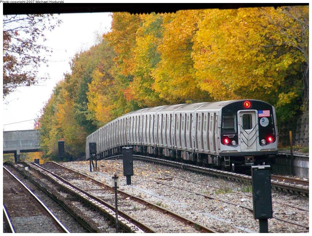 (329k, 1044x790)<br><b>Country:</b> United States<br><b>City:</b> New York<br><b>System:</b> New York City Transit<br><b>Line:</b> BMT Sea Beach Line<br><b>Location:</b> Fort Hamilton Parkway <br><b>Route:</b> N<br><b>Car:</b> R-160B (Kawasaki, 2005-2008)  8837 <br><b>Photo by:</b> Michael Hodurski<br><b>Date:</b> 11/12/2007<br><b>Viewed (this week/total):</b> 1 / 2633