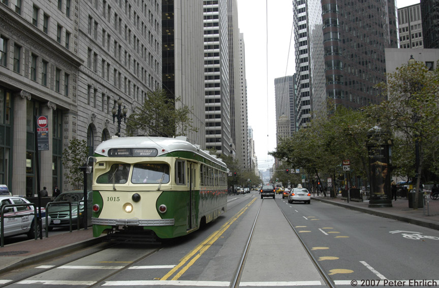 (200k, 864x568)<br><b>Country:</b> United States<br><b>City:</b> San Francisco/Bay Area, CA<br><b>System:</b> SF MUNI<br><b>Location:</b> Market/Main<br><b>Car:</b> SF MUNI PCC Torpedo Double-End (St. Louis Car Co., 1948) 1015 <br><b>Photo by:</b> Peter Ehrlich<br><b>Date:</b> 10/30/2007<br><b>Notes:</b> Market/Main inbound.<br><b>Viewed (this week/total):</b> 0 / 603