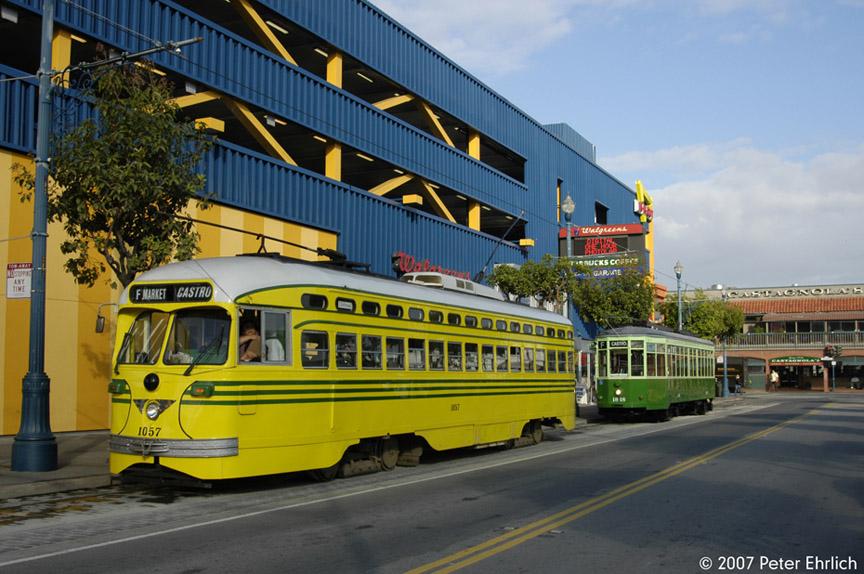 (204k, 864x574)<br><b>Country:</b> United States<br><b>City:</b> San Francisco/Bay Area, CA<br><b>System:</b> SF MUNI<br><b>Location:</b> Jones/Beach <br><b>Car:</b> SF MUNI PCC (Ex-SEPTA) (St. Louis Car Co., 1947-1948)  1057 <br><b>Photo by:</b> Peter Ehrlich<br><b>Date:</b> 11/9/2007<br><b>Notes:</b> Jones/Beach Teriminal.  With 1818 (Milan 1929 2-tone green).<br><b>Viewed (this week/total):</b> 0 / 592