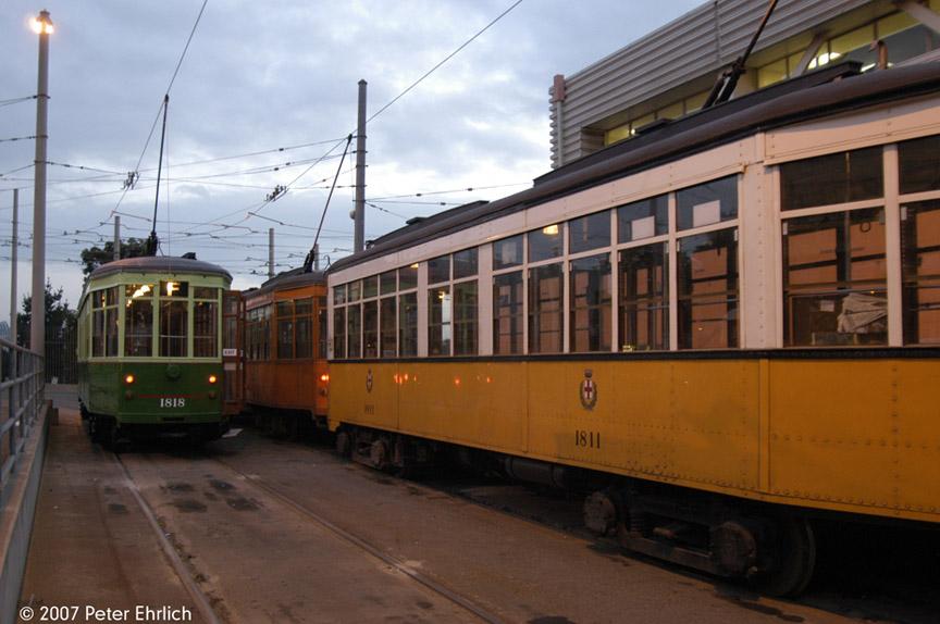 (163k, 864x574)<br><b>Country:</b> United States<br><b>City:</b> San Francisco/Bay Area, CA<br><b>System:</b> SF MUNI<br><b>Location:</b> Geneva Yard <br><b>Car:</b> Milan Milano/Peter Witt (1927-1930)  1818 <br><b>Photo by:</b> Peter Ehrlich<br><b>Date:</b> 11/9/2007<br><b>Notes:</b> Geneva Yard, trailing view.  With 1811 (1928 yellow/white).<br><b>Viewed (this week/total):</b> 1 / 323
