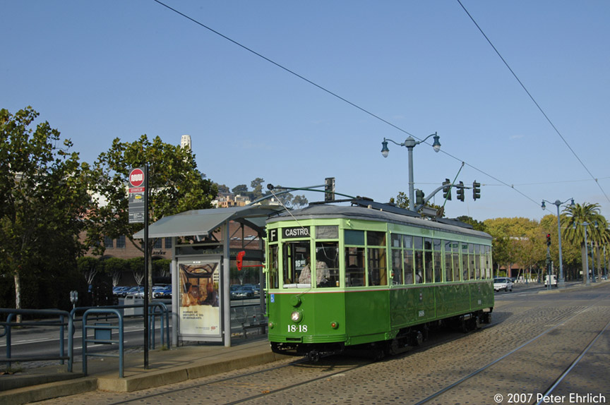 (172k, 864x574)<br><b>Country:</b> United States<br><b>City:</b> San Francisco/Bay Area, CA<br><b>System:</b> SF MUNI<br><b>Location:</b> Embarcadero/Green<br><b>Car:</b> Milan Milano/Peter Witt (1927-1930) 1818 <br><b>Photo by:</b> Peter Ehrlich<br><b>Date:</b> 11/9/2007<br><b>Notes:</b> Embarcadero/Green outbound.  The top of Coit Tower is in the background.<br><b>Viewed (this week/total):</b> 1 / 554